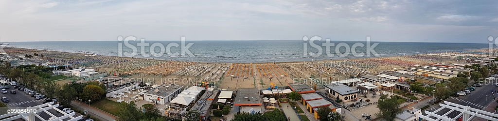 Panoramic view of beach in Cervia - Italy stock photo