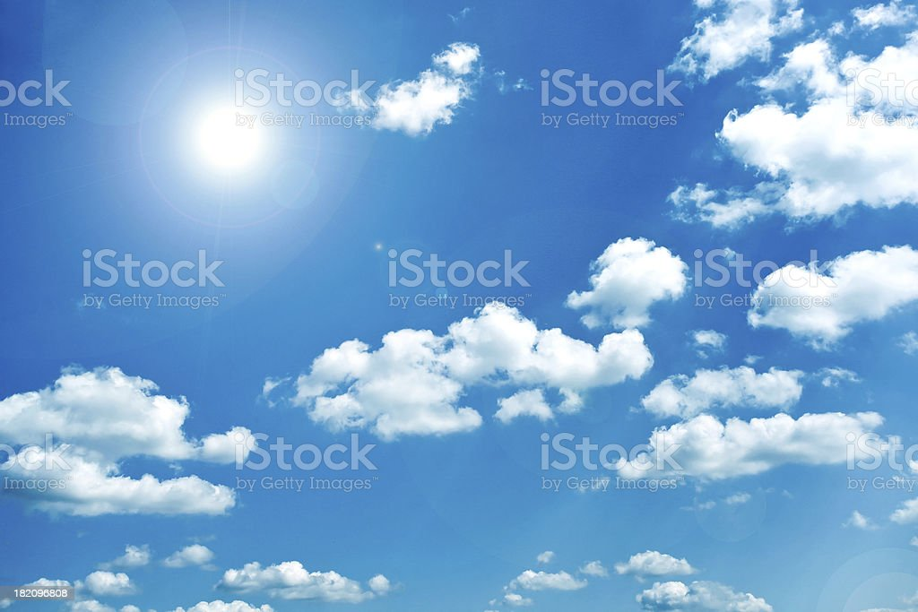 panoramic view of beautiful blue-sky and sparse white clouds royalty-free stock photo