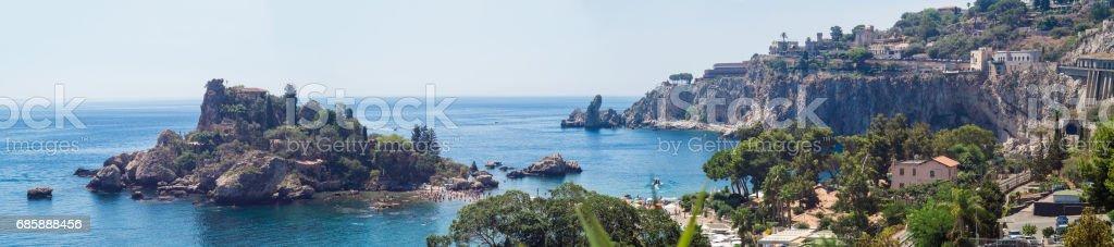 Panoramic view of Beautiful island, Taormina, Sicily stock photo