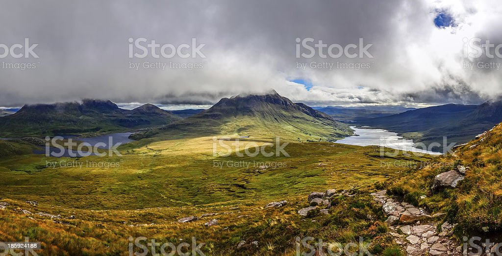 Panoramic view of beautiful lakes and clouds in Inverpolly, Scotland stock photo