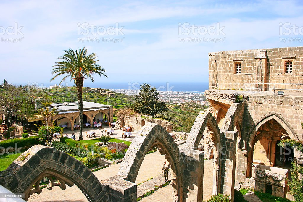 Panoramic view of Bellapis Abbey in the afternoon stock photo