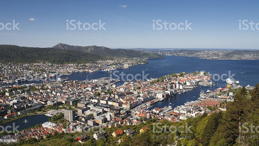 Panoramic View of Bergen, Norway royalty-free stock photo