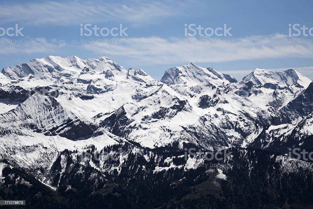 Panoramic view of Bernese Alps stock photo