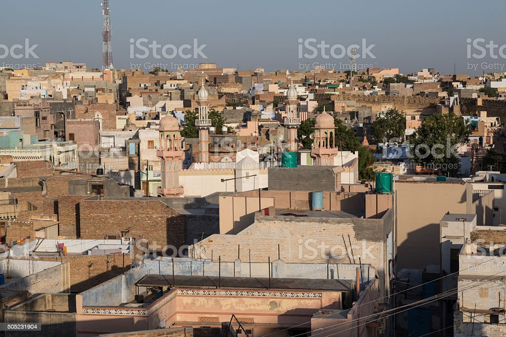 Panoramic view of Bikaner, India stock photo