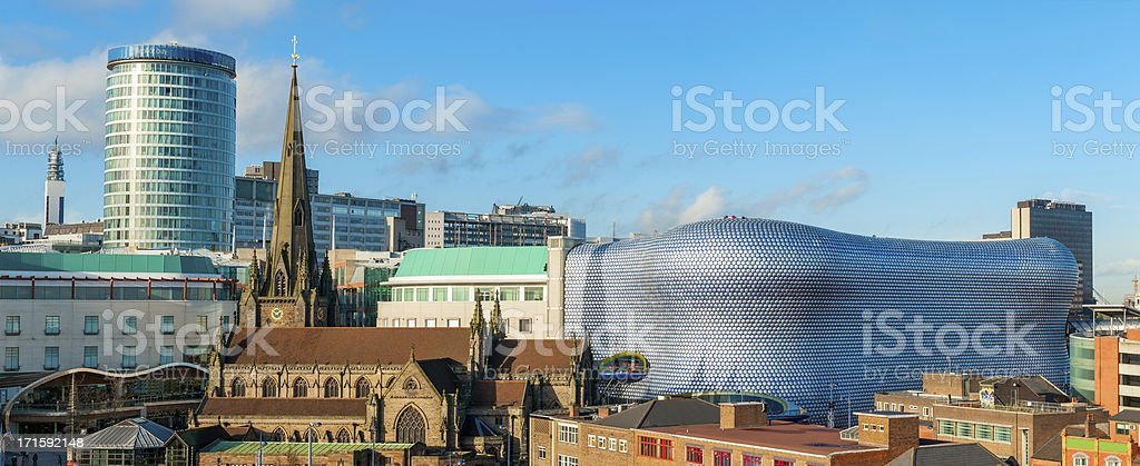 Panoramic view of Birmingham cityscape in England stock photo