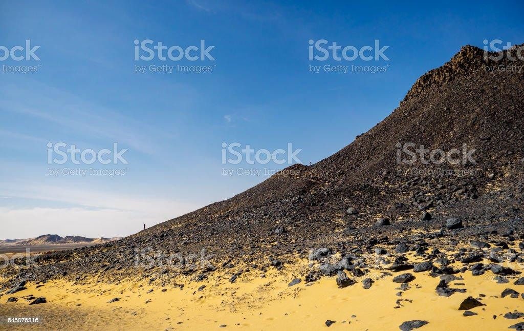 Panoramic view of Black Desert near Bahariya Oasis in Egypt. stock photo
