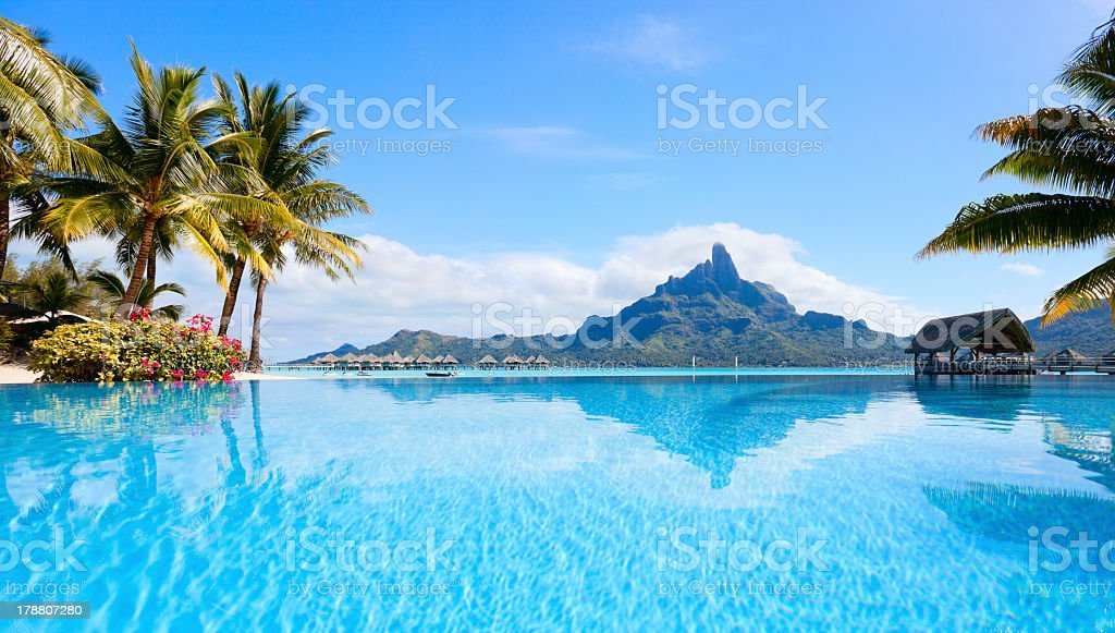 Panoramic view of blue ocean in Bora Bora stock photo