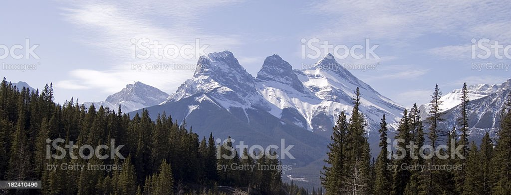 Panoramic view of blue sky and Three Sisters royalty-free stock photo