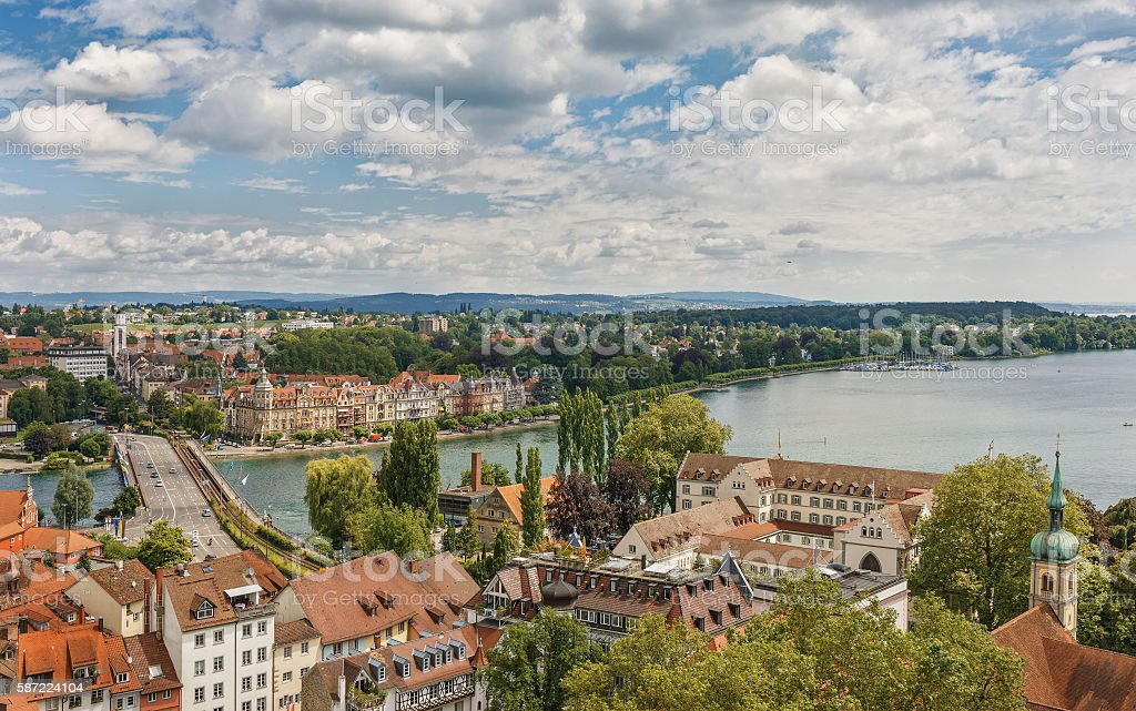 Panoramic view of Bodensee. stock photo