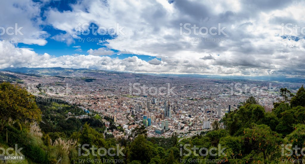 Panoramic view of Bogota city, Colombia stock photo