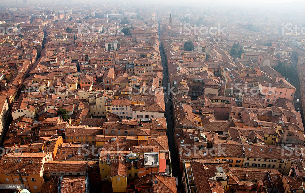Panoramic view of Bologna, Italy stock photo