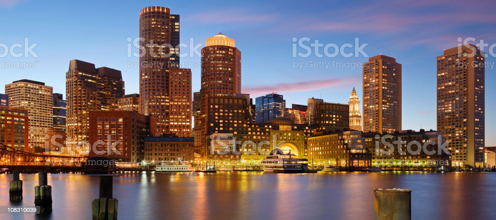 A panoramic view of Boston skyline during sunset stock photo