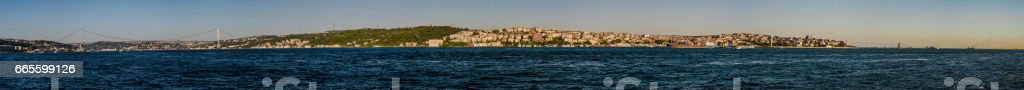 Panoramic view of both Anatolian and European side of Istanbul stock photo