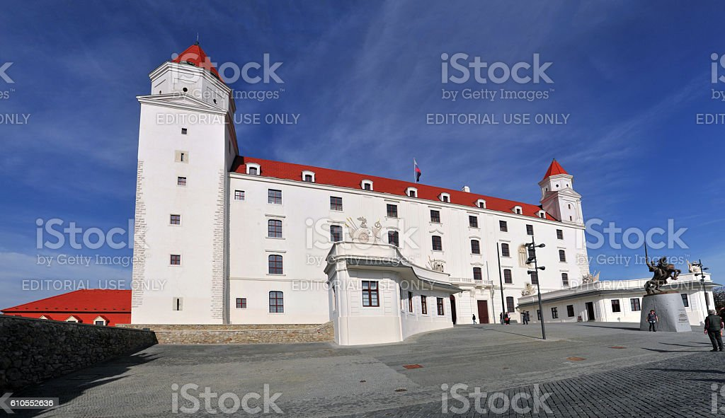 Panoramic view of Bratislava Castle stock photo