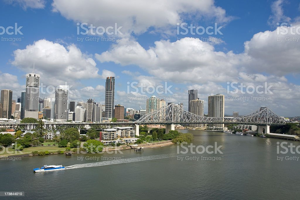 Panoramic view of Brisbane on sunny day royalty-free stock photo