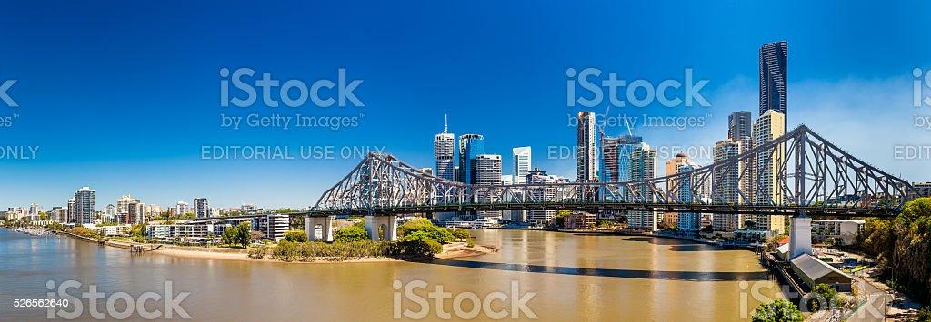 Panoramic view of Brisbane Skyline with Story Bridge stock photo