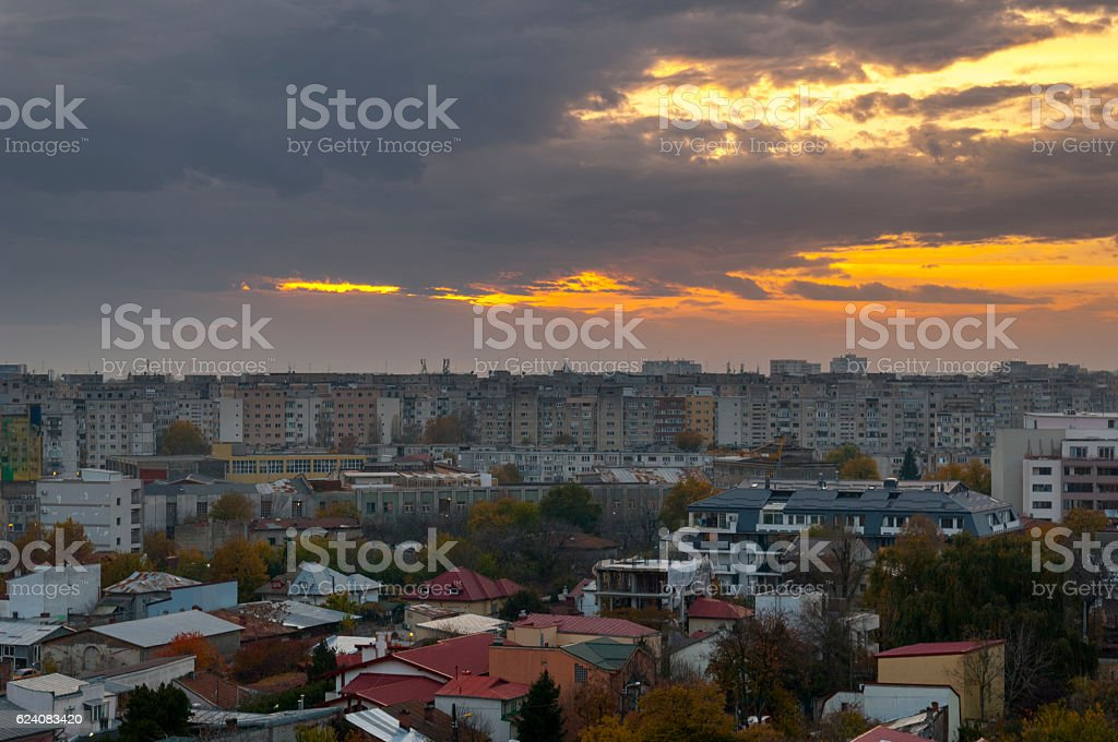 Panoramic View of Bucharest At Sunset stock photo