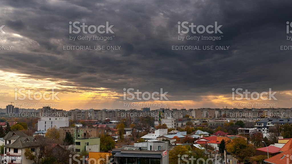 Panoramic View of Bucharest Before The Storm stock photo