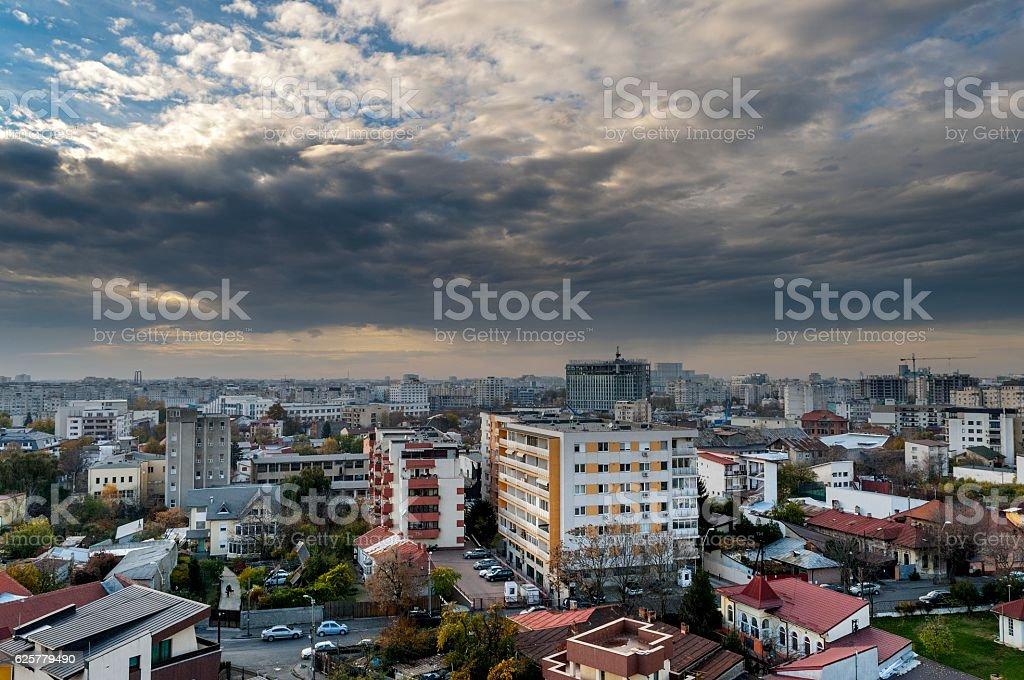 Panoramic View of Bucharest stock photo
