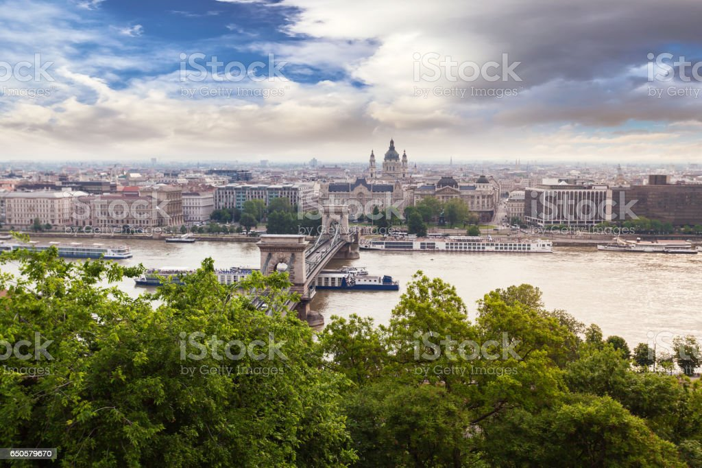 Panoramic view of Budapest from the Buda coast stock photo