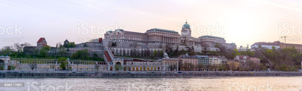 panoramic view of Budapest, Hungary, with royal palace in twilig stock photo