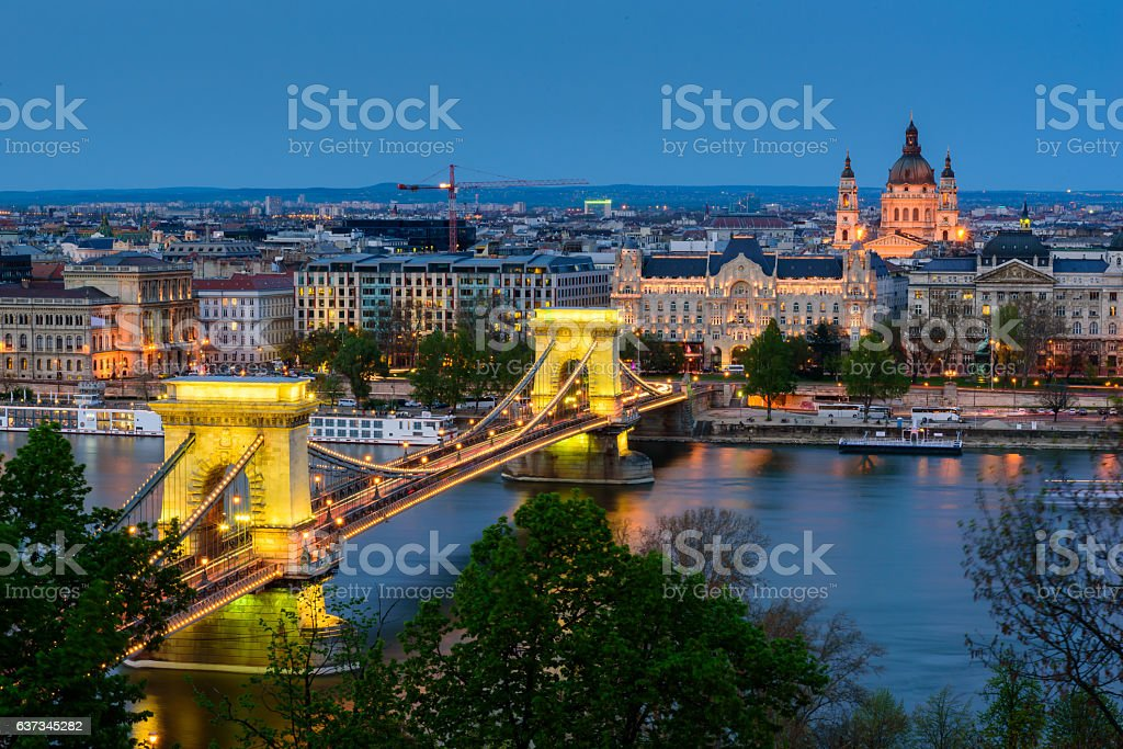 Panoramic view of Budapest with the Chain Bridge  in twiligh stock photo