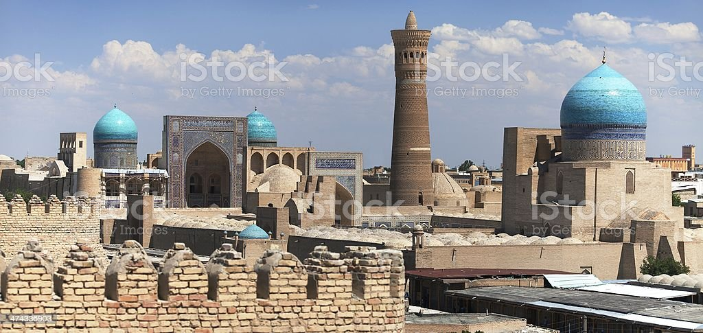 Panoramic view of bukhara from Ark - Uzbekistan stock photo