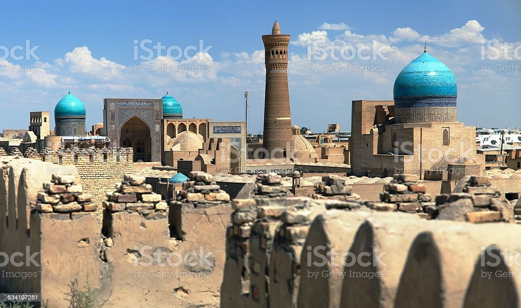 Panoramic view of bukhara from Ark - Uzbekistan stock photo