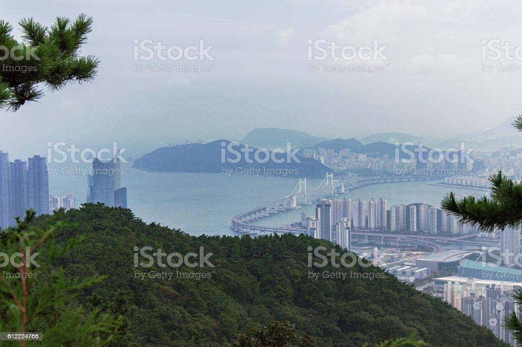 Panoramic view of Busan in South Korea, Jang San stock photo