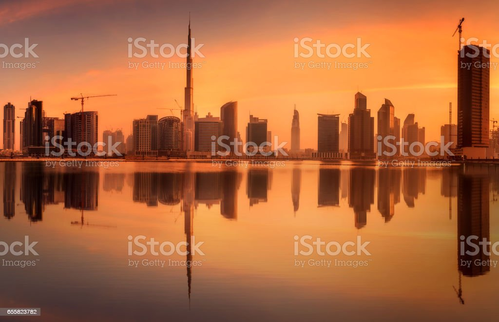 Panoramic view of Business bay and downtown area of Dubai, UAE stock photo