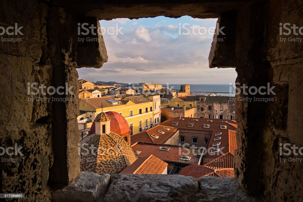 Panoramic view of Cagliari downtown at sunset in Sardinia stock photo