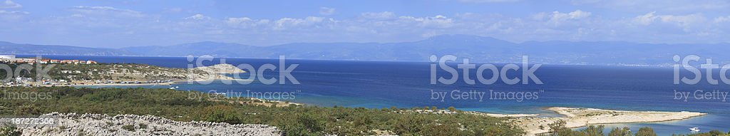 Panoramic view of campsite on Krk Island royalty-free stock photo