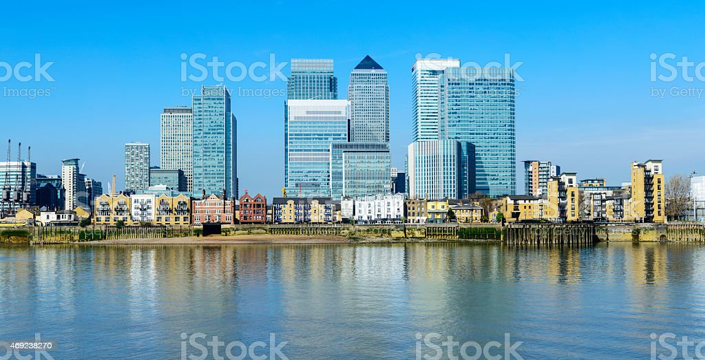 Panoramic View of Canary Wharf London City Skyline stock photo