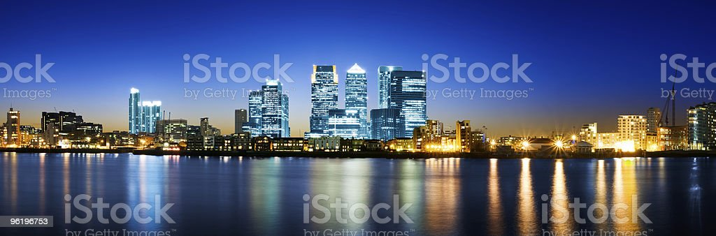 Panoramic view of Canary Wharf, London stock photo