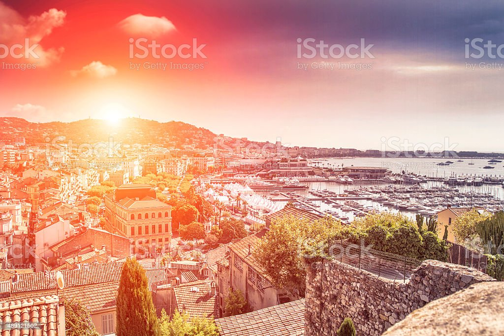 Panoramic view of Cannes at sunset stock photo