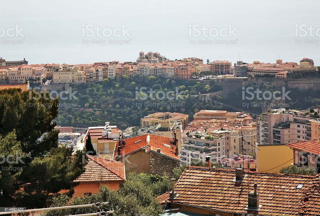Panoramic view of Canton de Beausoleil and Monaco. France stock photo