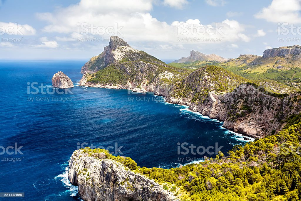 Panoramic view of Cape Formentor. Mallorca stock photo