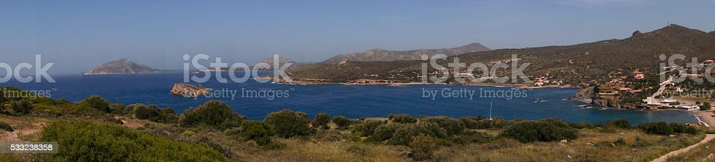 Panoramic view of Cape Sounion in Greece. stock photo