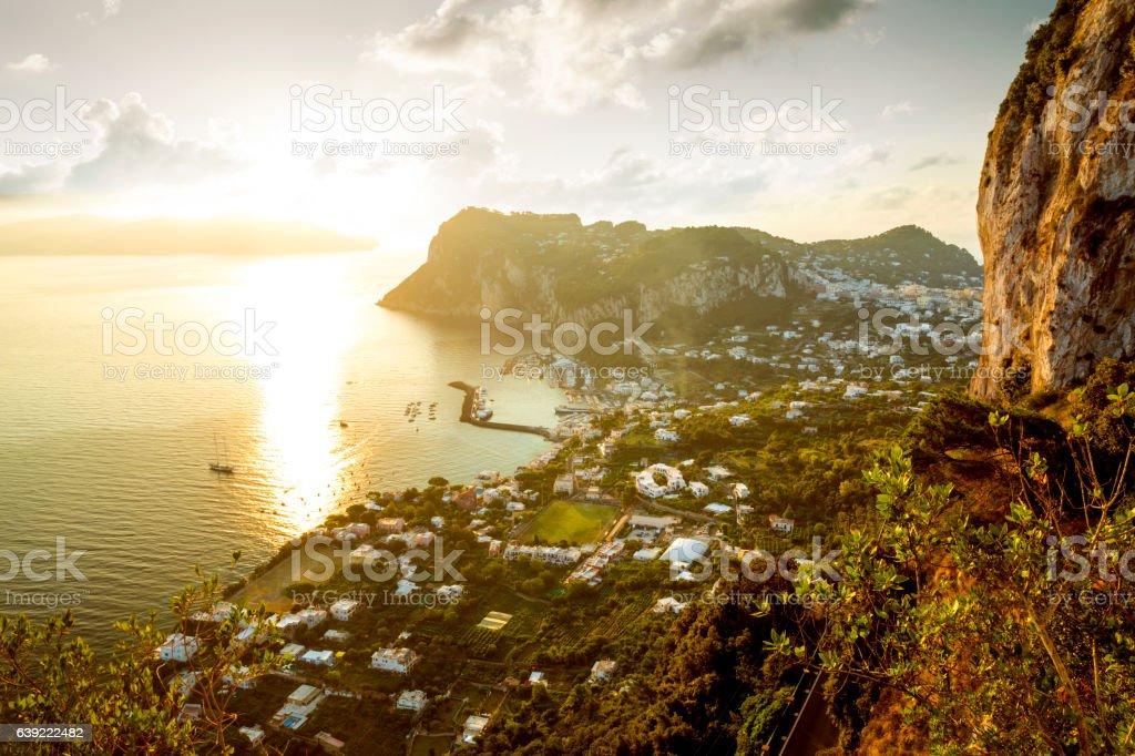 Panoramic view of Capri Island at sunrise, Italy stock photo