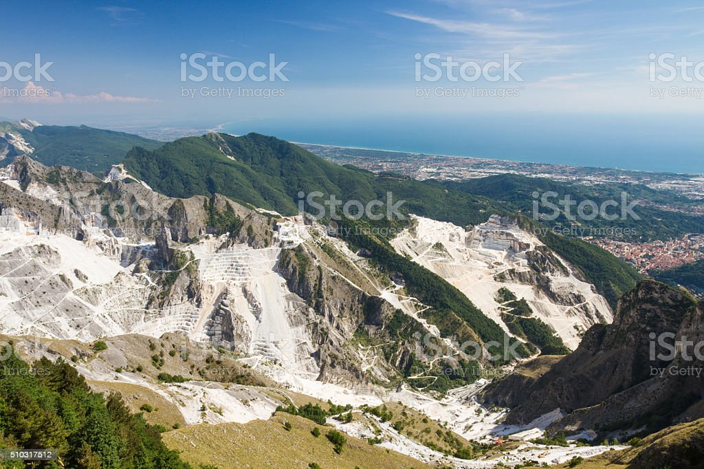 Panoramic view of Carrara's marble quarries in Tuscany, Italy stock photo