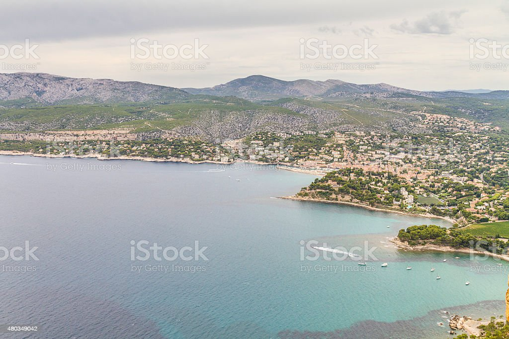 Panoramic view of Cassis and Calanque Coast stock photo