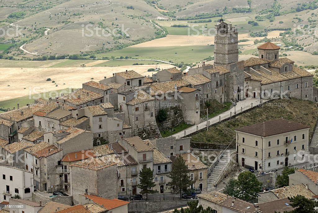 Panoramic view of Castel del Monte (L'Aquila, Abruzzi, Italy) stock photo