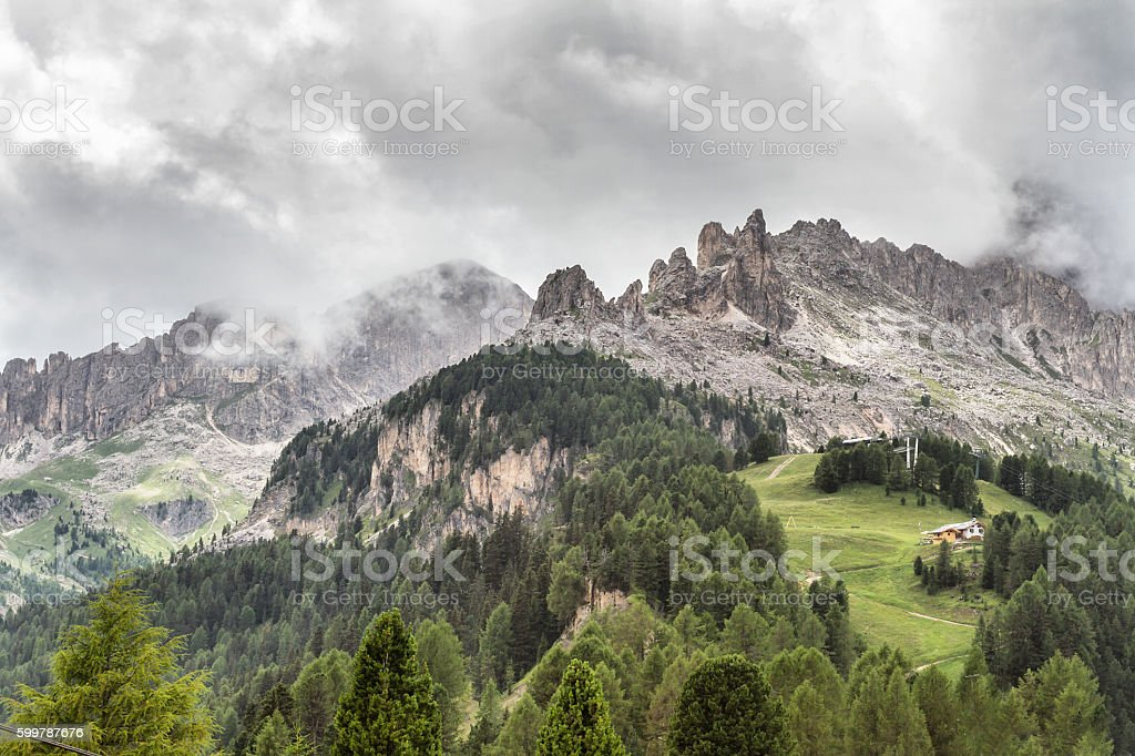 Panoramic view of Catinaccio and Latemar mountains - Dolomites Italy stock photo