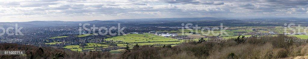 Panoramic view of Cheltenham taken from Cleeve Hill stock photo