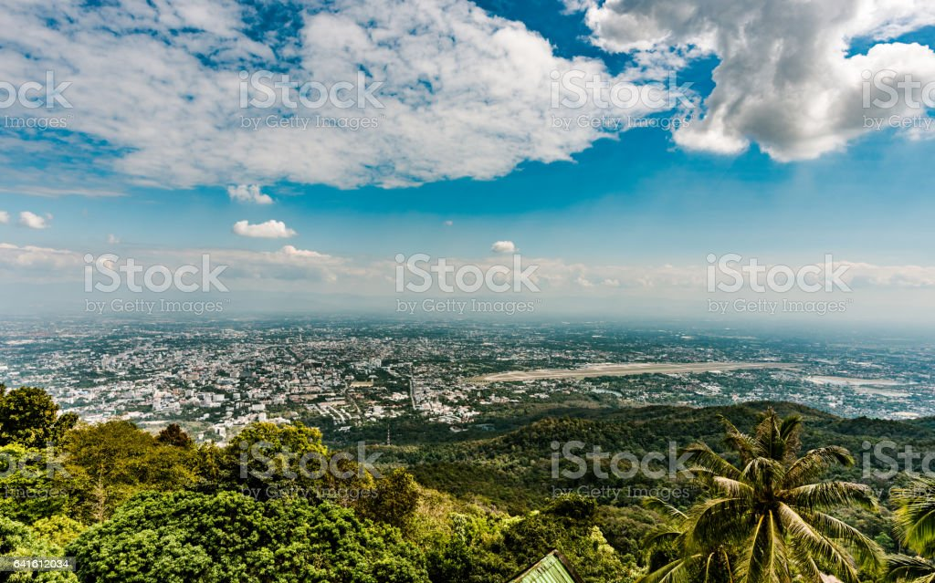 Panoramic View of Chiang Mai from Wat Phrathat Doi Suthep stock photo