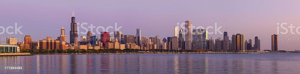 Panoramic View of Chicago Skyline at Dawn stock photo
