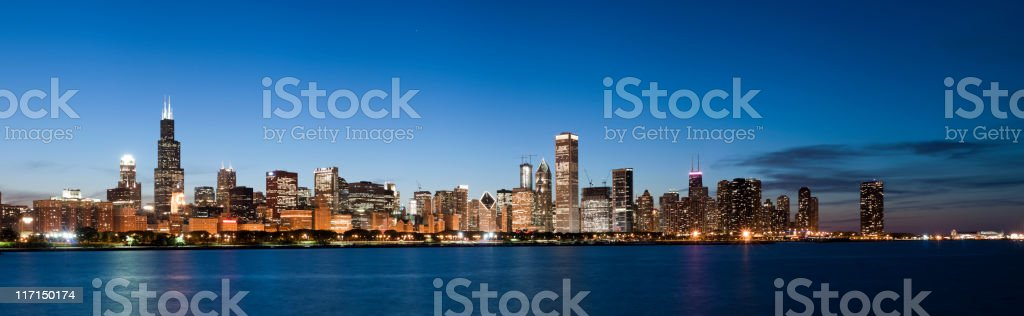 Panoramic View of Chicago Skyline at Dusk stock photo