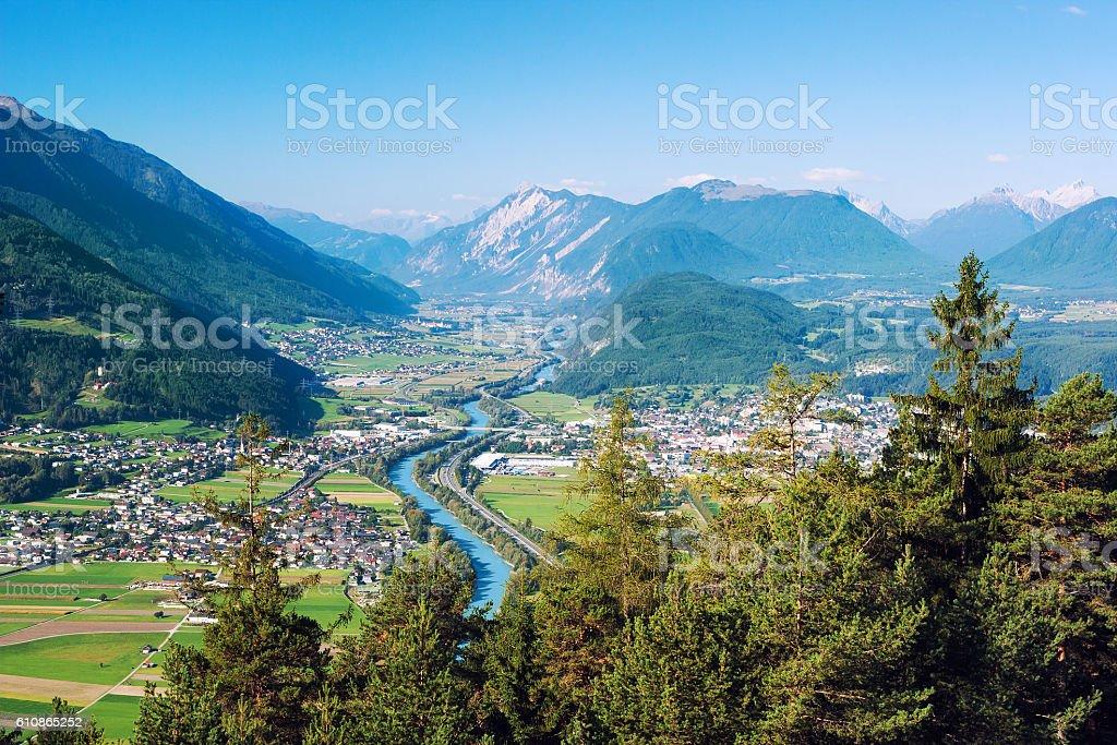 Panoramic view of cities near river Inn in Tyrol, Austria stock photo