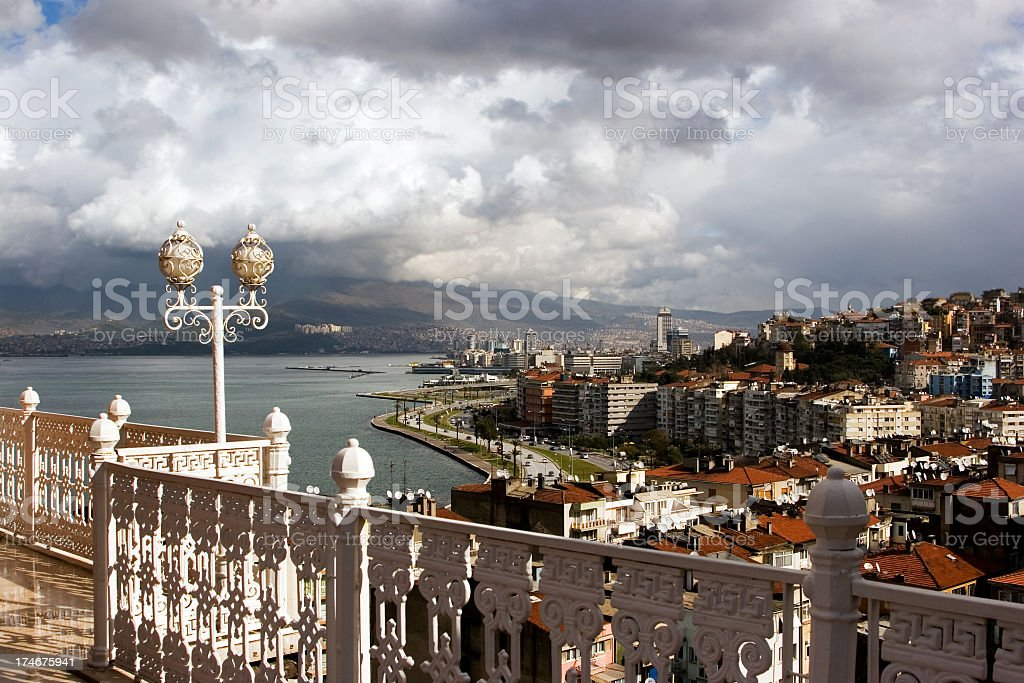 Panoramic view of city of Myr on cloudy day stock photo