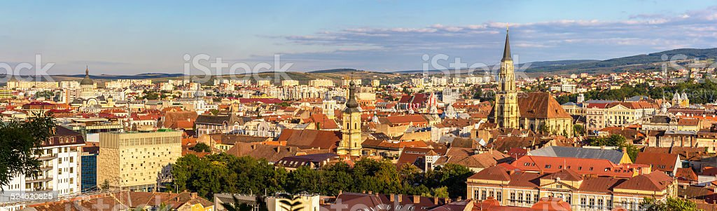 Panoramic view of Cluj-Napoca in Romania stock photo